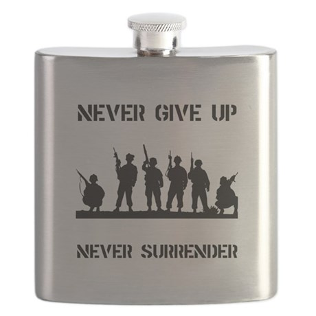 Never Give Up Military Black.png Flask