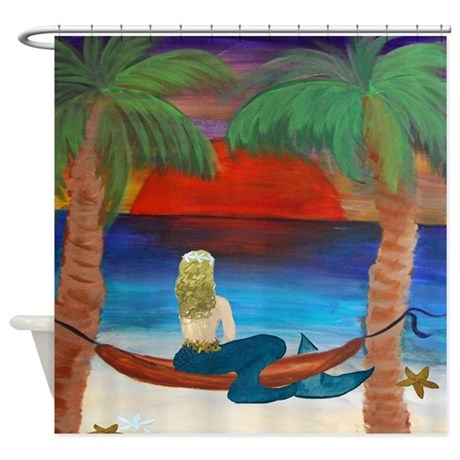 Giant Orange Sunset Hammock Mermaid Shower Curtain