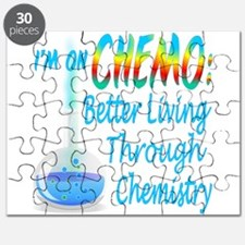 Funny Cancer CHEMO Chemistry Blue Puzzle