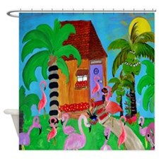 Yard Flamingos Shower Curtain