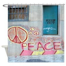 Peace Graffiti Hippie Shower Curtain
