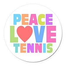 Peace Love Tennis Round Car Magnet
