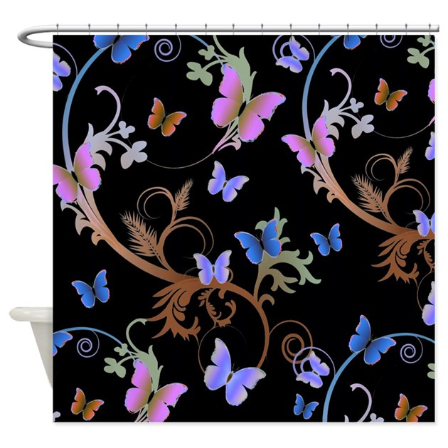 Blue & Purple Butterflies Shower Curtain by alondrascreations