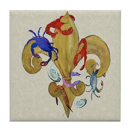 Cajun Fleur de lis Tile Coaster