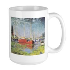 Red Boats at Argenteuil Ceramic Mugs