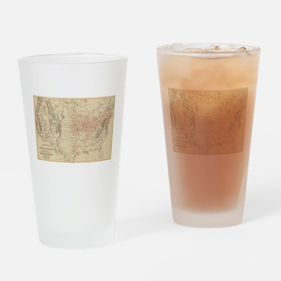 Vintage United States Railroad Map Drinking Glass