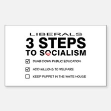 3 Steps To Socialism Sticker (Rectangle)