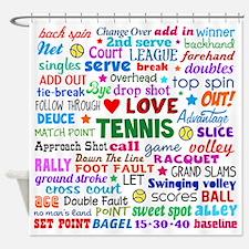 Tennis Terms Shower Curtain