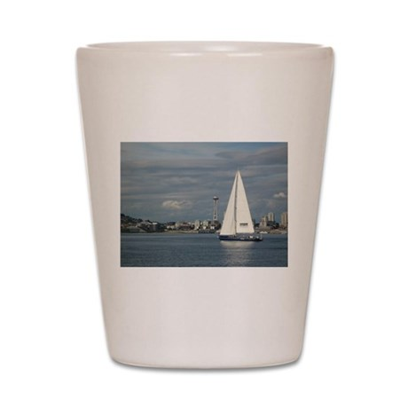 Sailboat and Seattle Space Needle Shot Glass