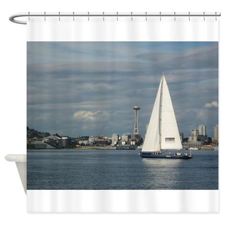 Sailboat and Seattle Space Needle Shower Curtain
