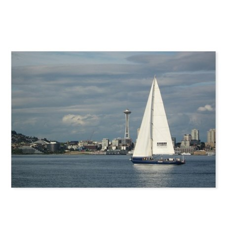 Sailboat and Seattle Space Needle Postcards (Packa