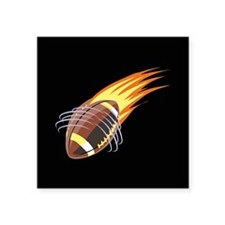 "Flaming Football Square Sticker 3"" x 3"""