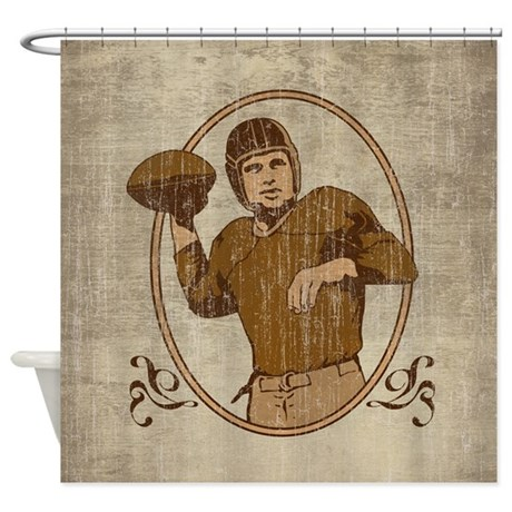 vintage football shower curtain