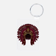 Native War Bonnet 09 Aluminum Photo Keychain