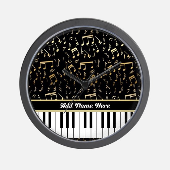 Personalized Gold Musical notes piano Wall Clock