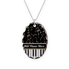 Personalized Piano Keys and Gold Music Notes Neckl