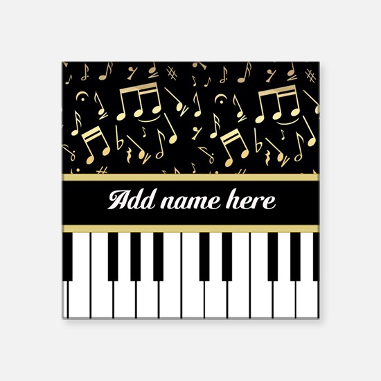 Personalized Piano and musical notes Square Sticke