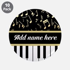 """Personalized Piano and musical notes 3.5"""" Button ("""