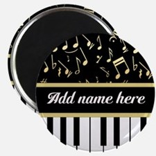 """Personalized Piano and musical notes 2.25"""" Magnet"""