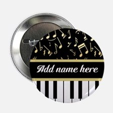 """Personalized Piano and musical notes 2.25"""" Button"""