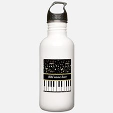 Personalized Piano and musical notes Water Bottle