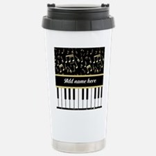 Personalized Piano and musical notes Travel Mug