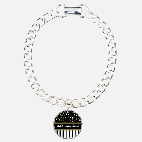 Personalized Piano and musical notes Bracelet