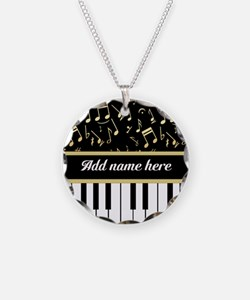 Personalized Piano and musical notes Necklace