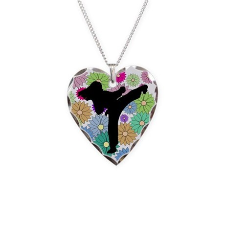 Karate Martial Arts Necklace Heart Charm