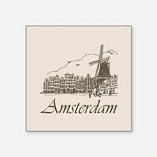 "Vintage Amsterdam Square Sticker 3"" x 3"""