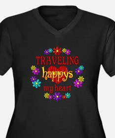 Traveling Happy Women's Plus Size V-Neck Dark T-Sh