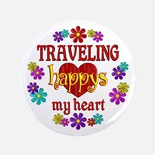 """Traveling Happy 3.5"""" Button (100 pack)"""