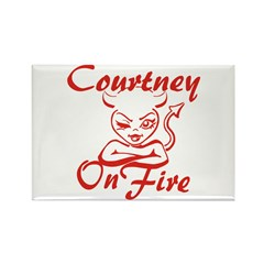 Courtney On Fire Rectangle Magnet