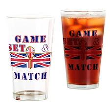 great britain tennis game set match Drinking Glass