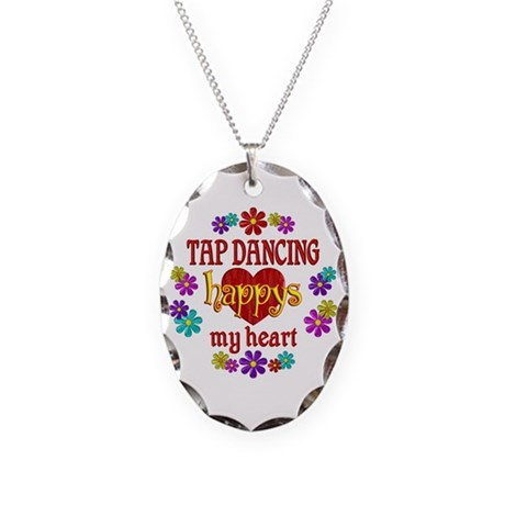 Tap Dancing Happy Necklace Oval Charm
