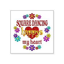 """Square Dancing Happy Square Sticker 3"""" x 3"""""""