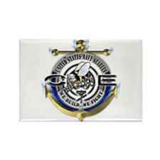USN Seabees Gold Anchor CE Rectangle Magnet