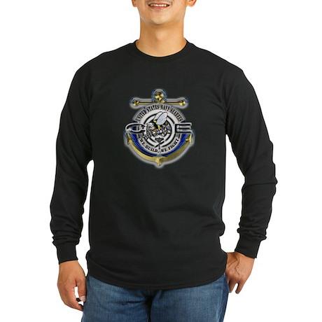 USN Seabees Gold Anchor CE Long Sleeve Dark T-Shir