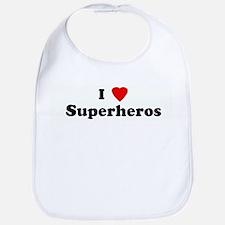I Love Superheros Bib