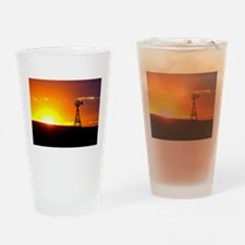 Windmill Sunset Drinking Glass