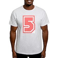 Varsity Uniform Number 5 (Pink) Ash Grey T-Shirt