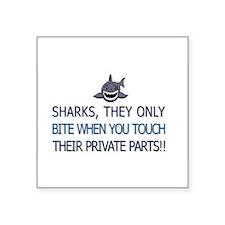 "SHARKS BITE Square Sticker 3"" x 3"""