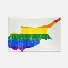 Cyprus Rainbow Pride Flag And Map Rectangle Magnet