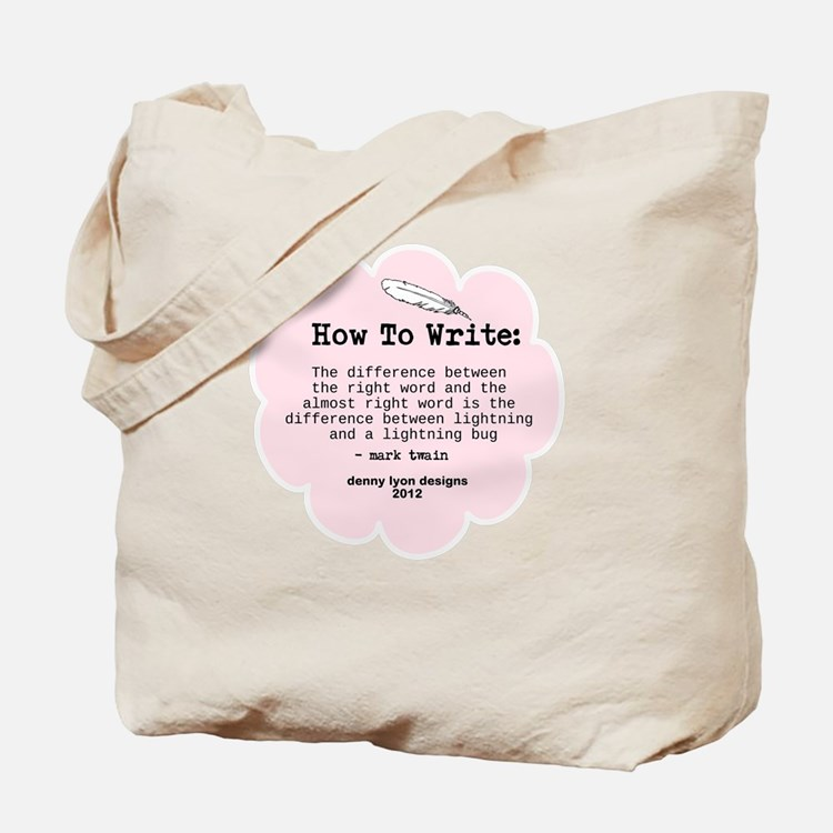 Mark Twain Write Word Tote Bag