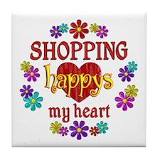 Shopping Happy Tile Coaster
