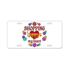 Shopping Happy Aluminum License Plate
