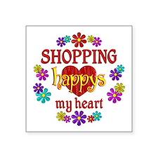 "Shopping Happy Square Sticker 3"" x 3"""