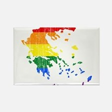 Greece Rainbow Pride Flag And Map Rectangle Magnet