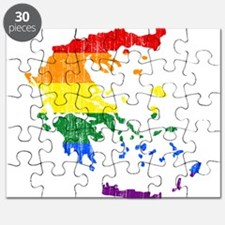 Greece Rainbow Pride Flag And Map Puzzle