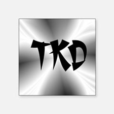 """Faux Metallic Silver TKD Square Sticker 3"""" x 3"""""""